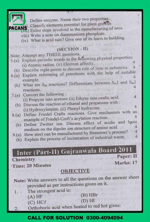 GUJRANWALA BOARD CHEMISTRY PAST PAPERS PART 2, 2011