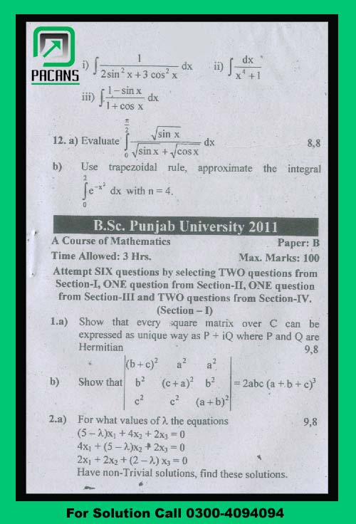 Bsc Punjab University Mathematics B Past Paper 2011 -
